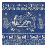 Boho Elephant Blue Reproduction d'art