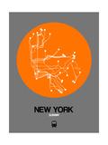 New York Orange Subway Map Reproduction d'art par NaxArt