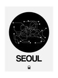 Seoul Black Subway Map Reproduction d'art par NaxArt