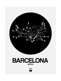 Barcelona Black Subway Map