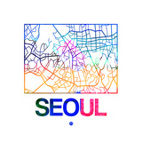Seoul Watercolor Street Map