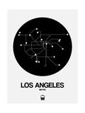 Los Angeles Black Subway Map Reproduction d'art par NaxArt