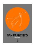San Francisco Orange Subway Map Reproduction d'art par NaxArt