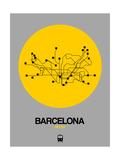 Barcelona Yellow Subway Map Reproduction d'art par NaxArt