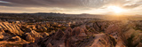 View of Rock Formations from Aktepe Hill at Sunset over Red Valley  Goreme National Park