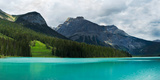 Lake with Mountain Range in the Background  Emerald Lake  Yoho National Park  Golden