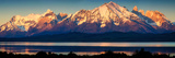 View of the Sarmiento Lake and Cordillera Paine at Sunrise  Torres Del Paine National Park
