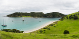 Boats Docked in Small Bay at Waewaetorea Island  Bay of Islands  Northland Region