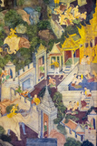 Colorful Painted Murals Depicting Scenes from Life of Buddha