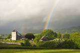 A Rainbow over St David's Church in the Tiny Welsh Hamlet of Llanddewir Cwm  Powys  Wales
