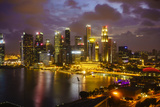 The Towers of the Central Business District and Marina Bay at Dusk  Singapore  Southeast Asia  Asia