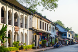 French Colonial Style Buildings on Sakkaline Road in Luang Prabang Historic District