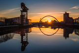 Sunrise at the Clyde Arc (Squinty Bridge)  Pacific Quay  Glasgow  Scotland  United Kingdom  Europe