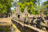 West Gate and Naga Bridge at Prasat Preah Khan Temple Ruins  Angkor  UNESCO World Heritage Site