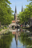 Canal Scene with Bridge  16th Century East Port Gate Towers  Delft  Holland  Europe