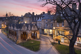 Market Hall and Cotswold Stone Cottages on High Street  Chipping Campden  Cotswolds