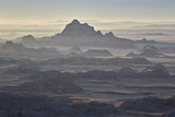 Badlands Layers on a Hazy Morning  Badlands National Park  South Dakota