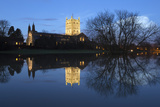 Tewkesbury Abbey Reflected in Water at Dusk  Tewkesbury  Gloucestershire  England  United Kingdom