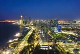 Skyline and Corniche  Al Markaziyah District by Night  Abu Dhabi  United Arab Emirates  Middle East
