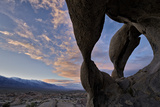 Sunset Through Cyclops' Skull Arch  Alabama Hills  Inyo National Forest
