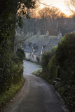 View Down Lane to Arlington Row Cotswold Stone Cottages at Dawn  Bibury  Cotswolds