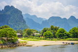 Nam Song River and Karst Landscape in Vang Vieng  Vientiane Province  Laos