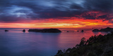 A Fiery Dawn Sky Breaks Beyond the Islands Off the Coromandel Peninsula  Waikato  North Island