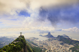 View of the Christ Statue  Sugar Loaf and Guanabara Bay Rio De Janeiro  Brazil  South America