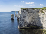 The Chalk Cliffs of Ballard Down with the Pinnacles Stack and Stump in Swanage Bay