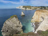 Freshwater Bay and Chalk Cliffs of Tennyson Down  Isle of Wight  England  United Kingdom  Europe