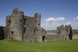Towers and Wall Inside Llansteffan Castle  Llansteffan  Carmarthenshire  Wales  United Kingdom