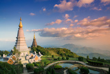 Temples at Doi Inthanon  the Highest Peak in Thailand  Chiang Mai Province