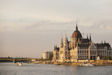 Evening Light on the Hungarian Parliament Building and Danube River  Budapest  Hungary  Europe