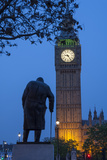 Sir Winston Churchill Statue and Big Ben  Parliament Square  Westminster  London  England