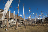 Prayer Flags at the Small Village of Chebisa in Northern Bhutan on the Laya-Gasa Trekking Route