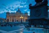 St Peters and Piazza San Pietro at Dusk  Vatican City  UNESCO World Heritage Site  Rome  Lazio