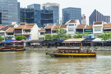 Tour Boat Passing Boat Quay  Singapore  Southeast Asia  Asia