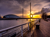 A Stunning Sunset over the River Clyde  Glasgow  Scotland  United Kingdom  Europe