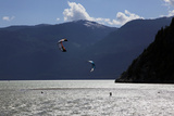 Two Kite Surfers on Howe Sound at Squamish  British Columbia  Canada  North America