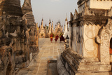 Young Novices Run Through the Pagodas  Kakku Pagoda Complex  Myanmar (Burma)  Asia