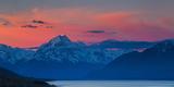 The Last Rays of Setting Sun Strike Peak of Aoraki (Mount Cook) Beyond Shores of Lake Pukaki