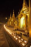 Oil Lamps  Shwedagon Pagoda  Yangon (Rangoon)  Myanmar (Burma)  Asia