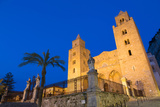 The Facade of the Norman Cathedral of Cefalu Illuminated at Night  Sicily  Italy  Europe