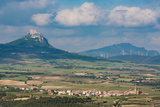 Small Village in La Rioja with the Sierra De Cantabria Mountains Near Laguardia  La Rioja  Spain