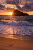 Sunset over Roche Ronde Rock Off the Coast of Biarritz  Pyrenees Atlantiques  Aquitaine