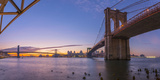 Brooklyn Bridge and Manhattan Bridge Beyond  over East River  New York