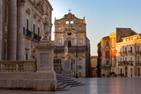 The Cathedral and Piazza Duomo in Early Morning on the Tiny Island of Ortygia