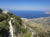 San Giovanni Church and View of Coastline from Town Walls  Erice  Sicily  Italy  Mediterranean