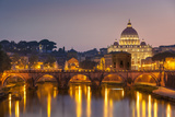 Pont Sant'Angelo and St Peters Basilica  UNESCO World Heritage Site  Vatican City  Rome  Lazio
