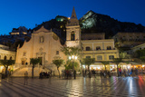 People Enjoying Passeggiata in Piazza Ix Aprile in the Hill Town of Taormina at Night  Sicily